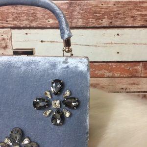 Zara Crossbody Rhinestones Velour Bag EUC